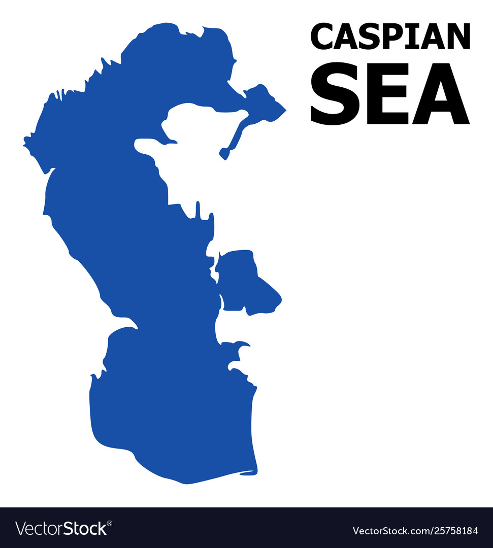 Flat map caspian sea with caption Royalty Free Vector Image Caspian Sea Map on
