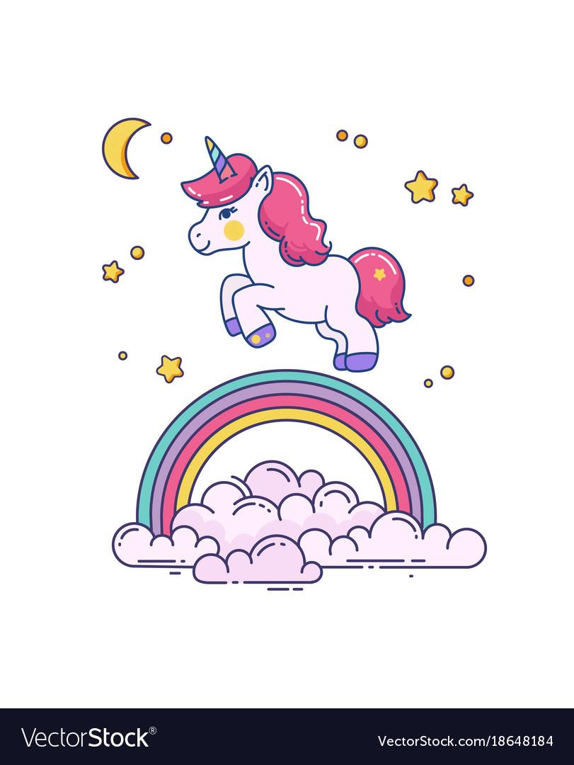 Flat with cute unicorn and rainbow
