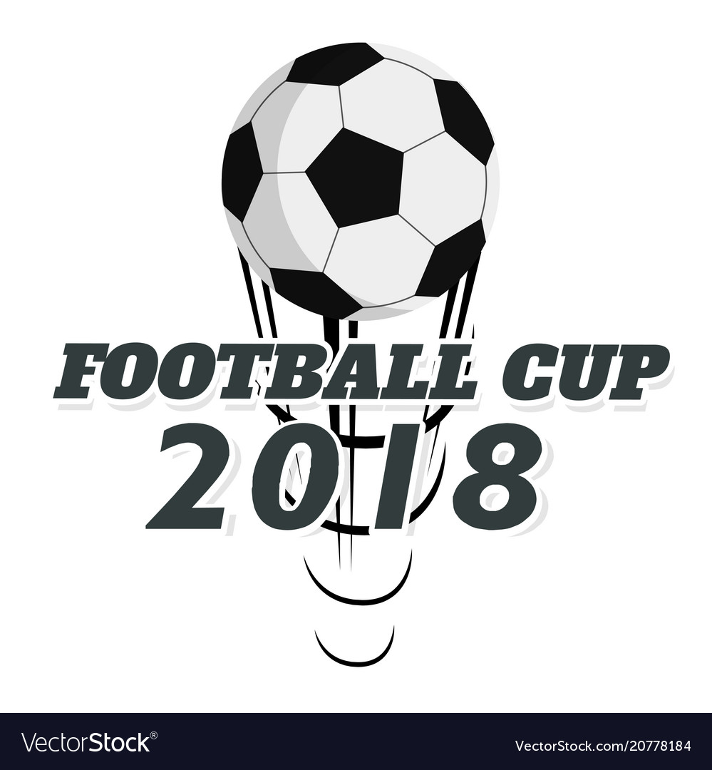 Football cup 2018 flying socer ball white backgrou