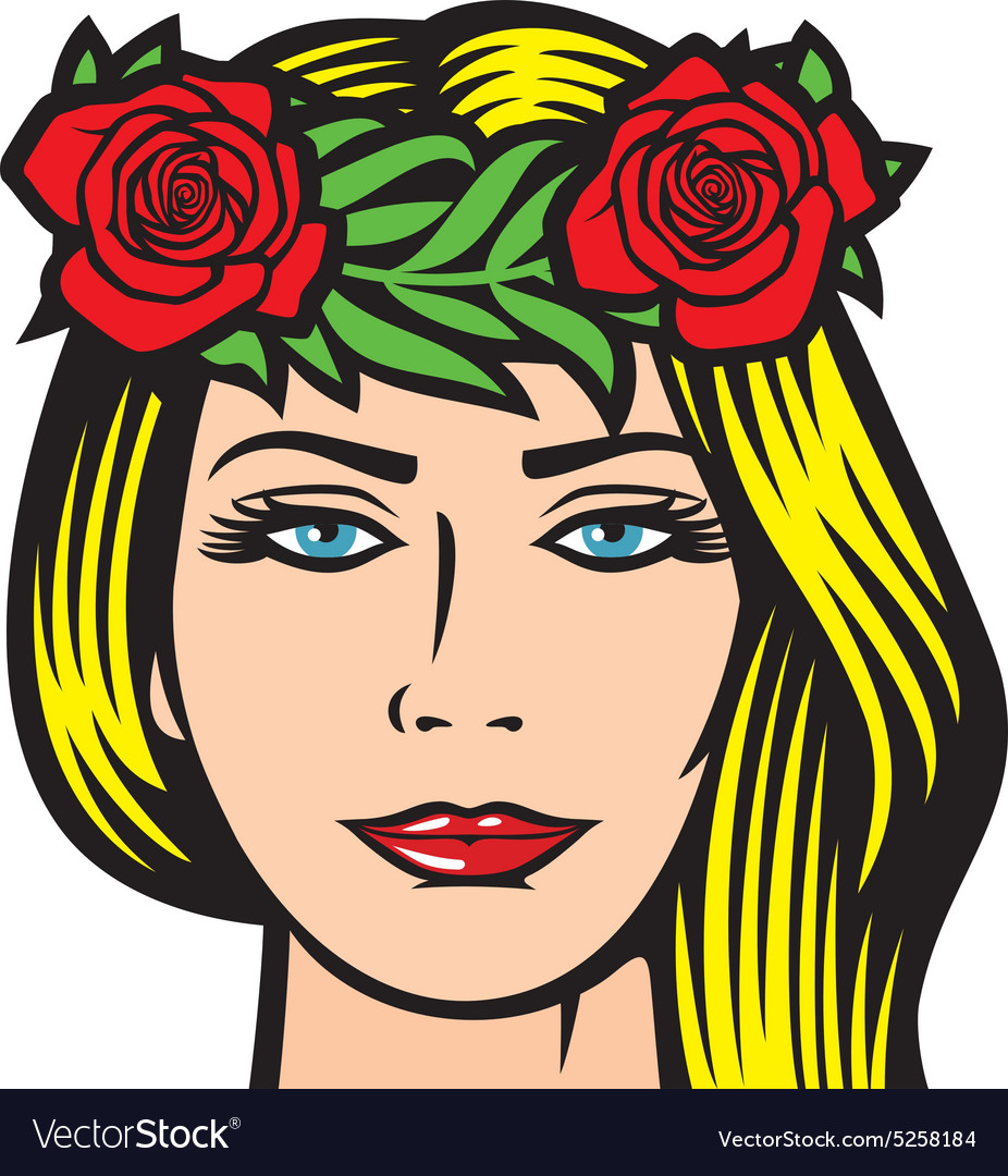 Girl with roses in hair