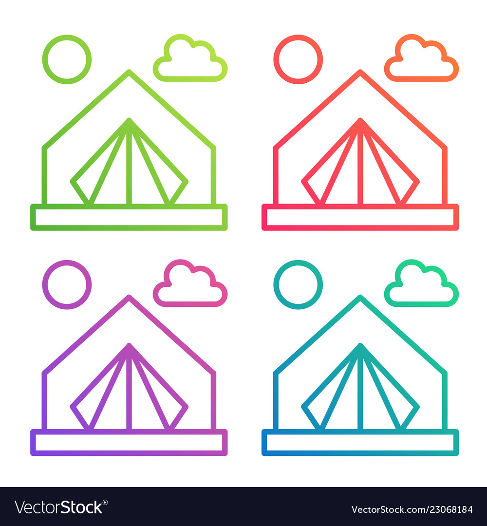 Gradient color line icon tent camping logo