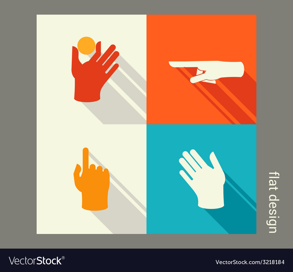 Hands icon set for website or application Flat