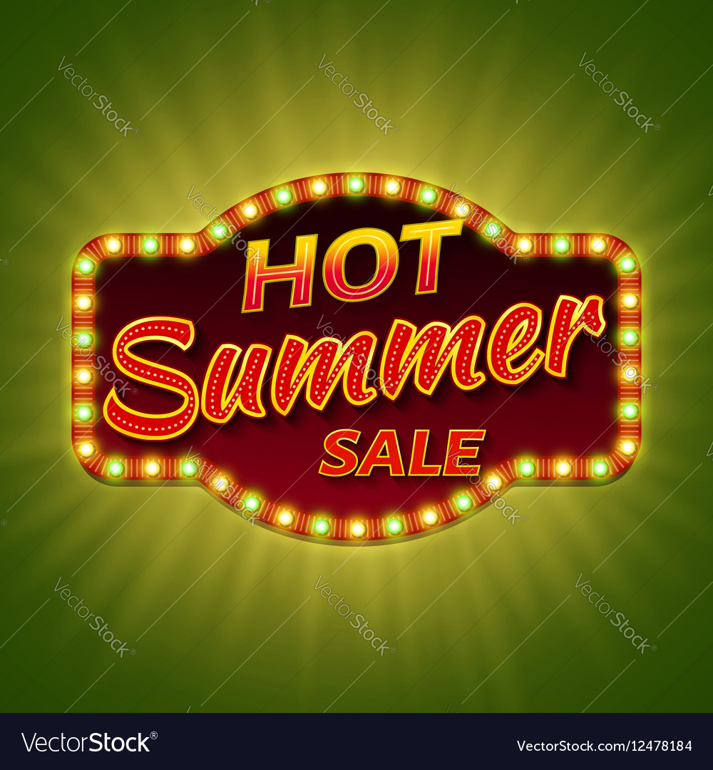 Hot summer sale 3d retro banner with shining bulb
