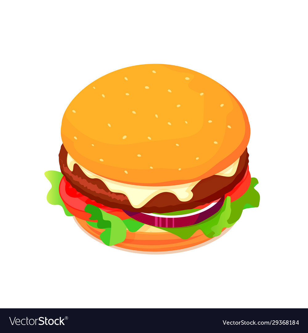 Isometric cheeseburger with tomato