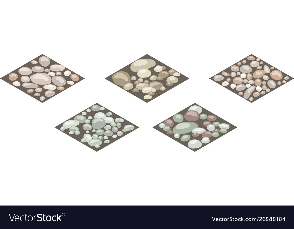Isometric stone texture tiles set stones rocks