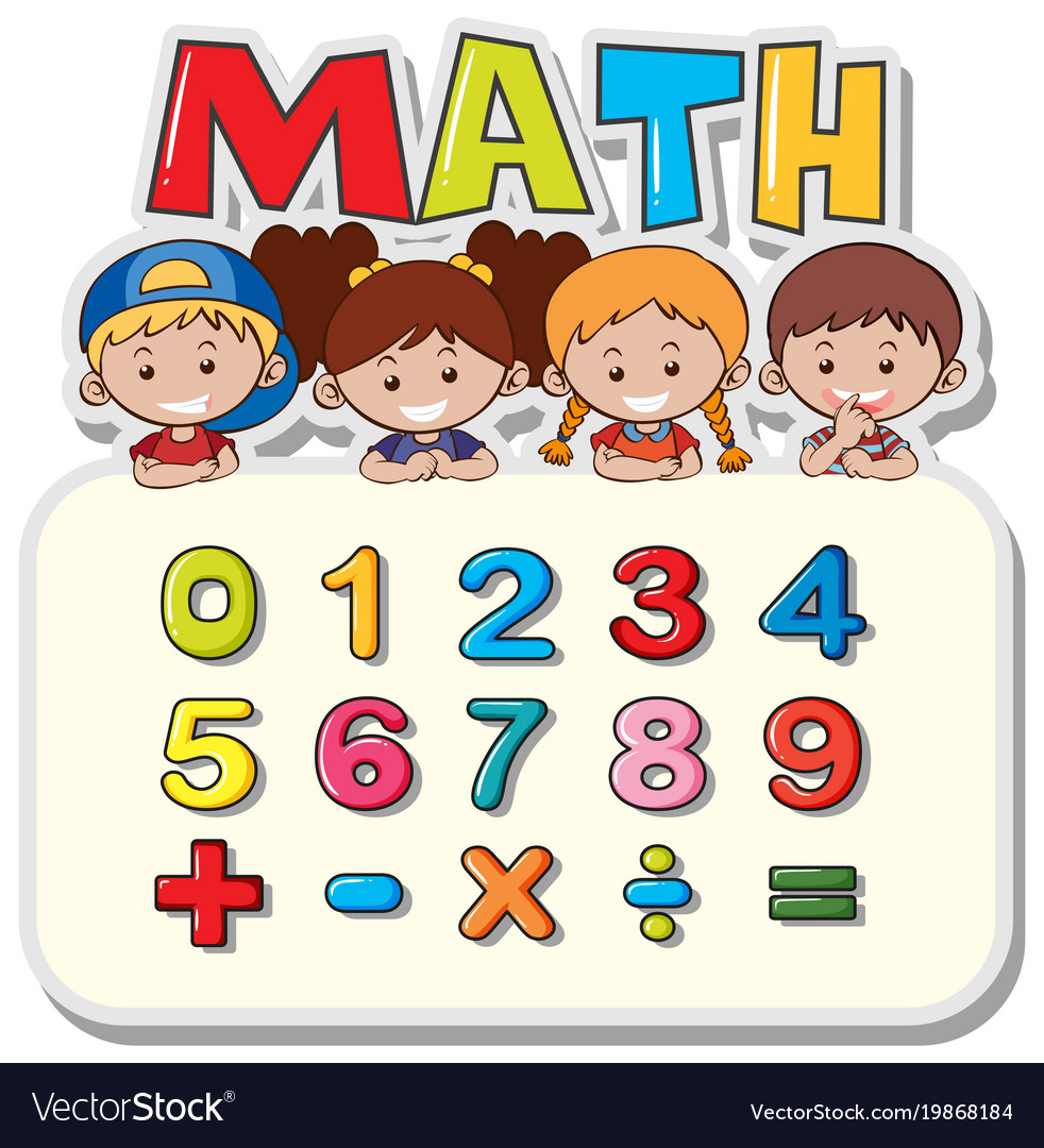 Math worksheet with kids and numbers Royalty Free Vector