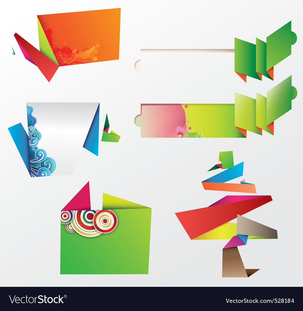 Origami design elements vector image