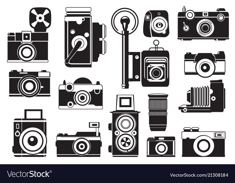 Pictures set of retro cameras monochrome