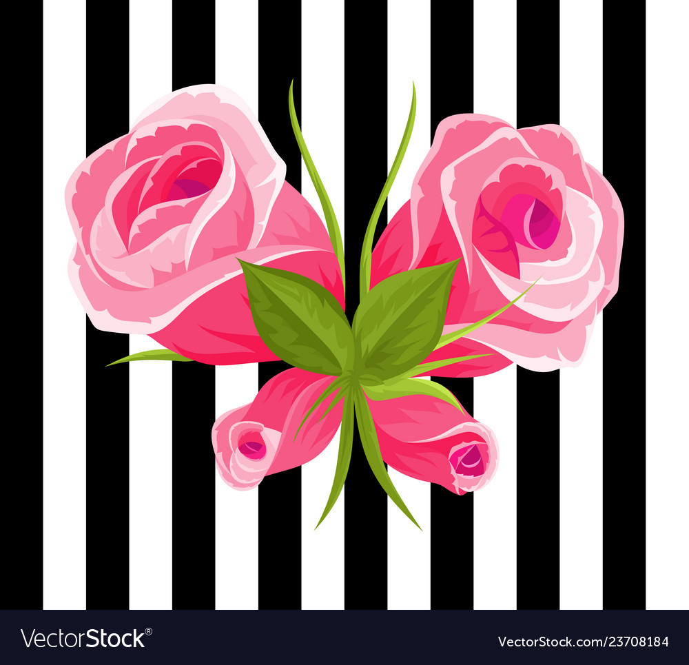 Pink roses and buds vintage flowers set wedding