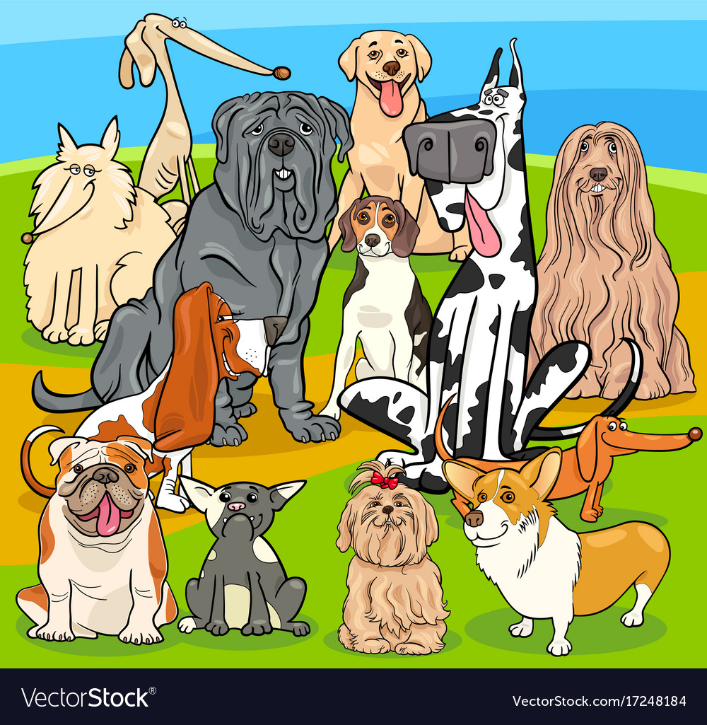 Purebred dogs cartoon characters group