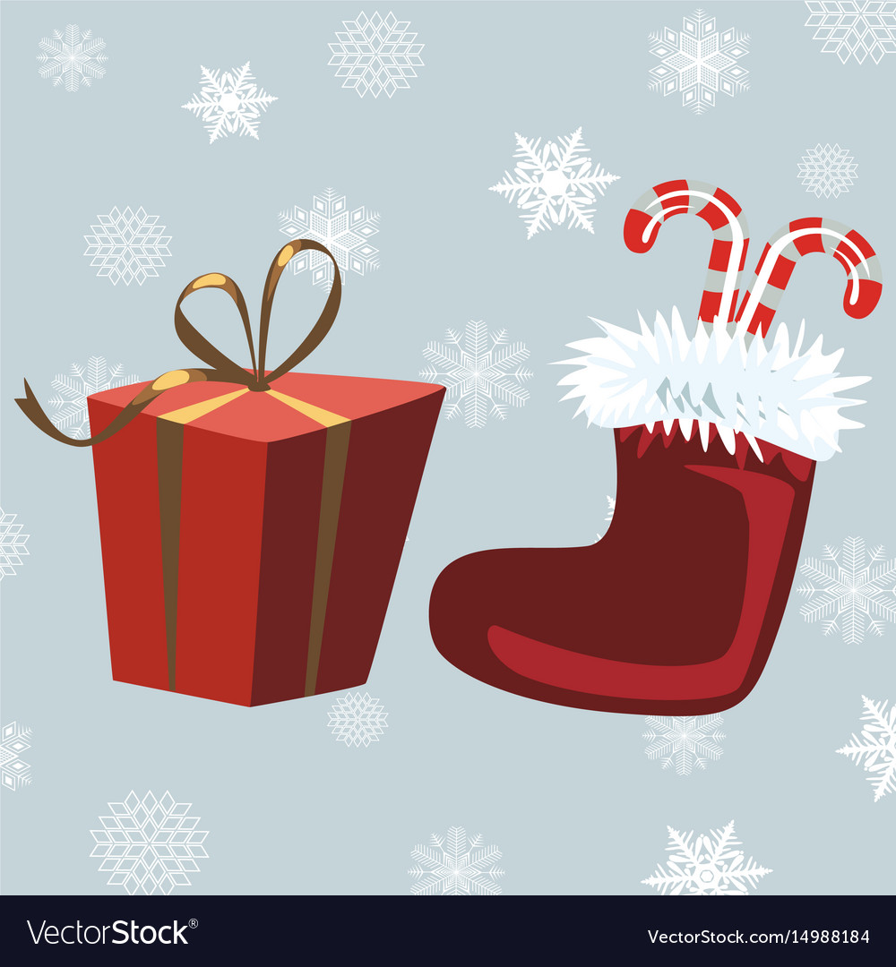 Santa claus boots and red gift gray background