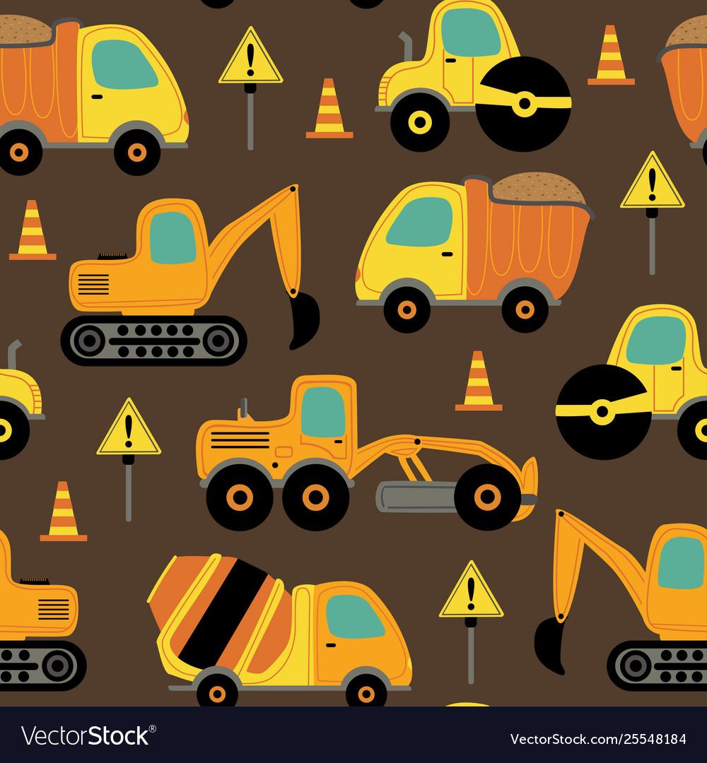 Seamless pattern with work trucks