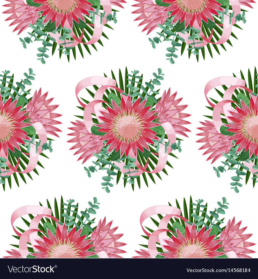 Seamless pattern withtropical wedding bouquet