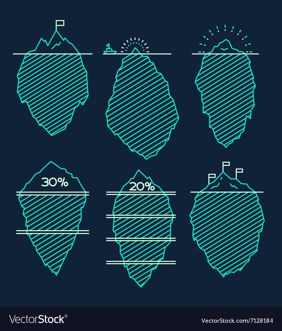 Set icebergs infographic linear style vector image