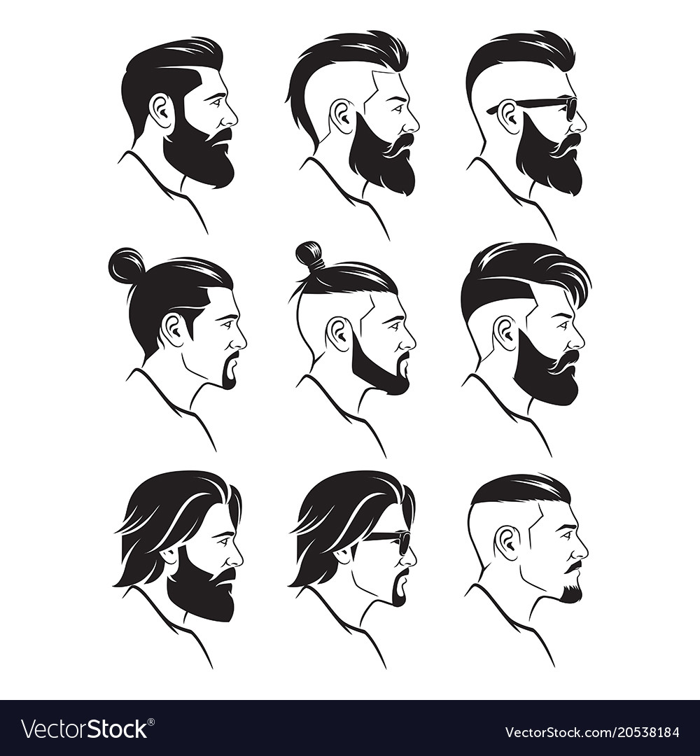 Awe Inspiring Set Of Silhouette Bearded Men Faces Hipsters Style Natural Hairstyles Runnerswayorg