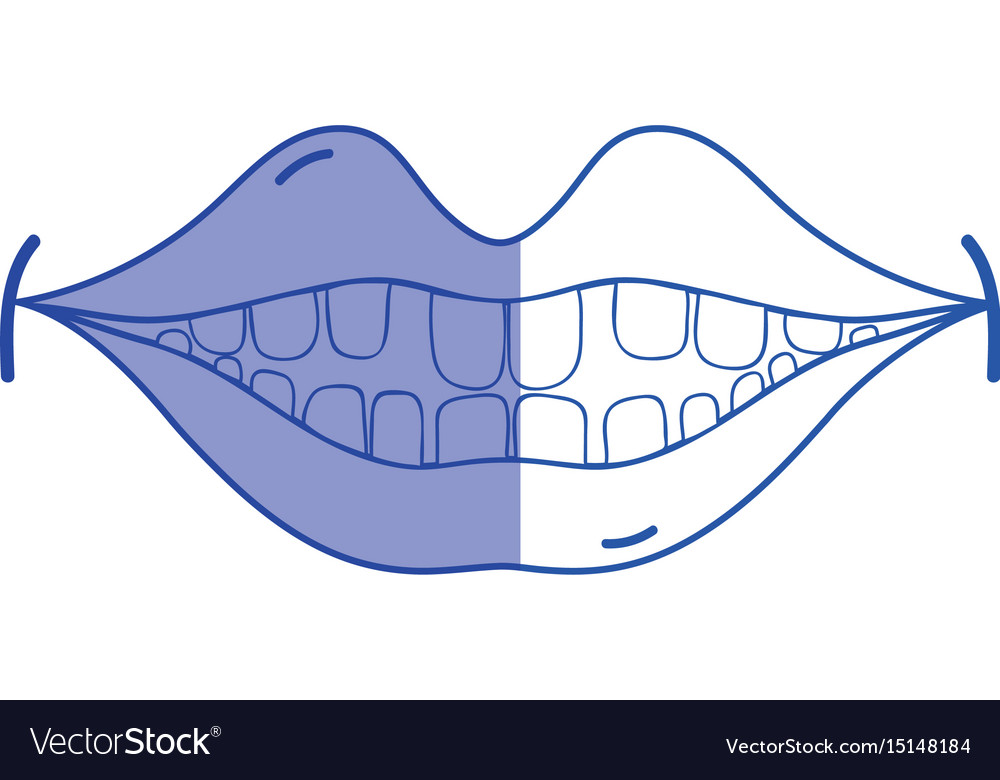 Silhouette happy mouth with teeth design icon