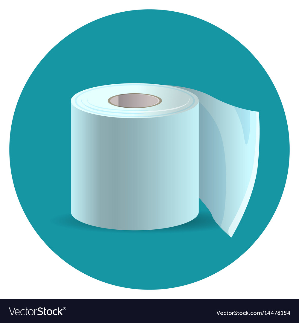 Toilet paper icon on blue web button