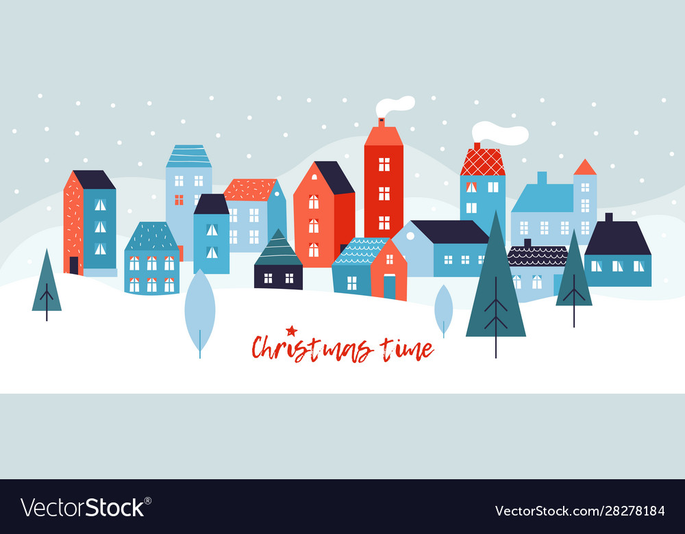 Winter simple landscape snowy christmas panorama
