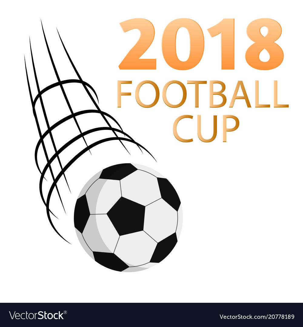 2018 football cup flying socer ball white backgrou