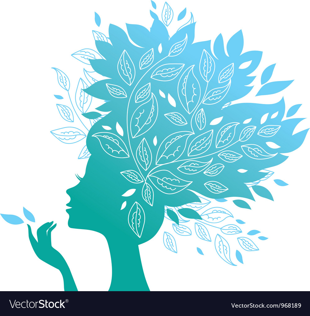 Beautiful woman silhouette with a flowers