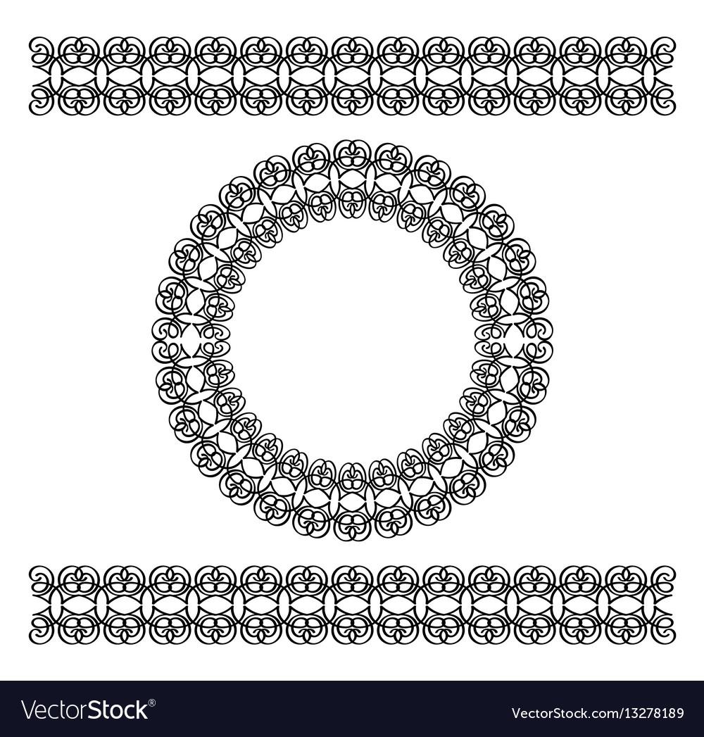 Black scythian border and circle frame