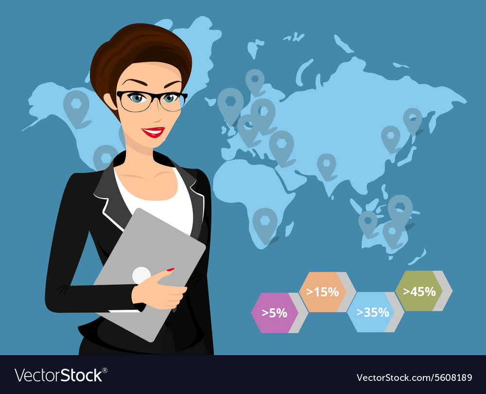 Business woman holds laptop in her hand vector image