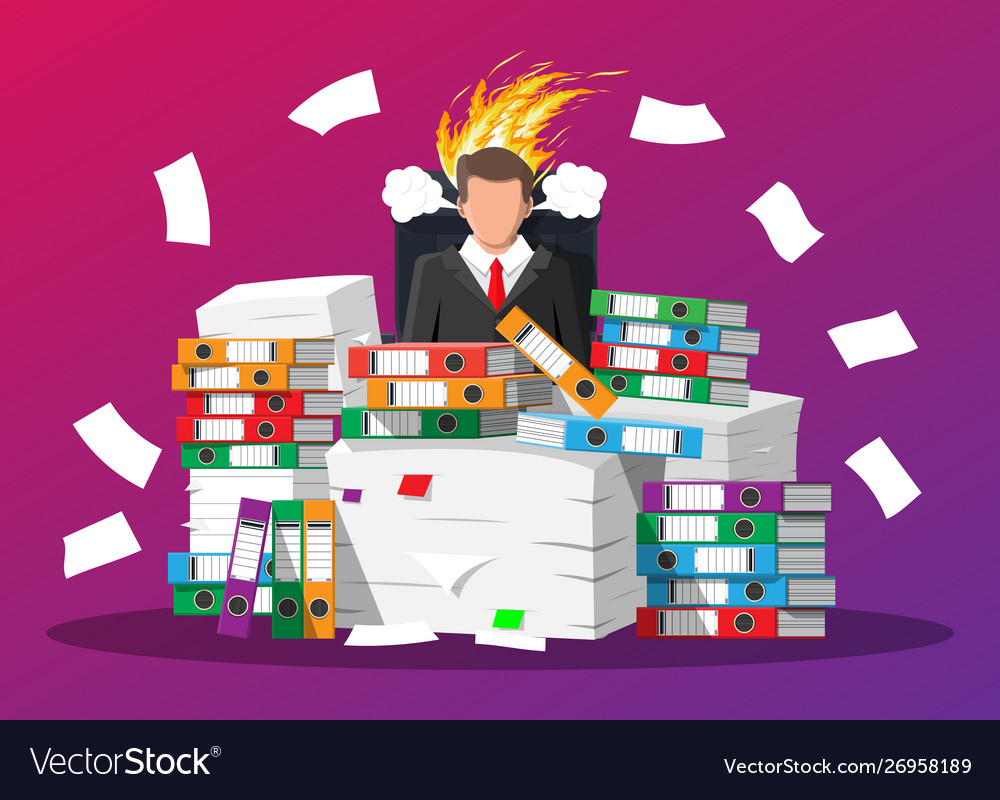 Businessman in pile office papers