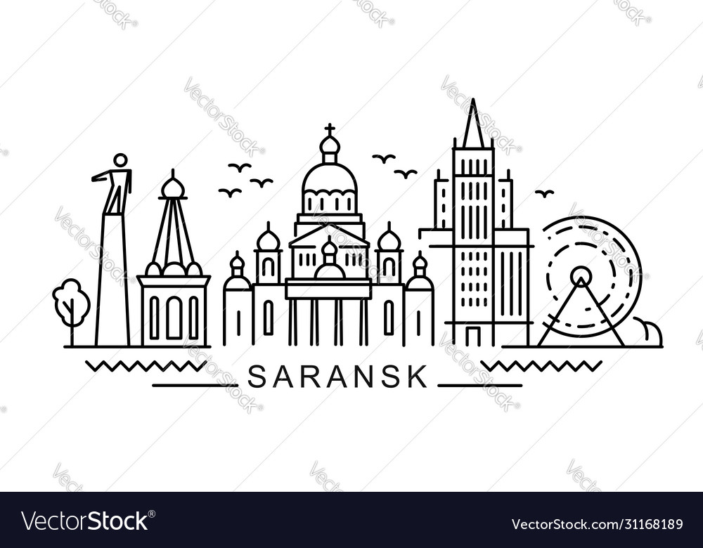 City saransk in outline style on white
