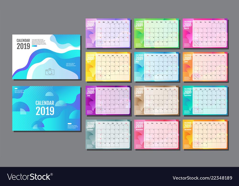 Desk calendar 2019 template layout annual
