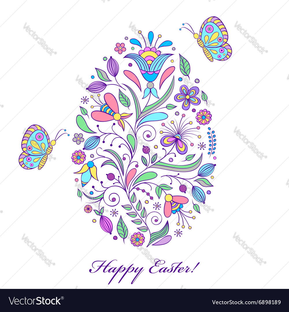 Floral easter egg on white background