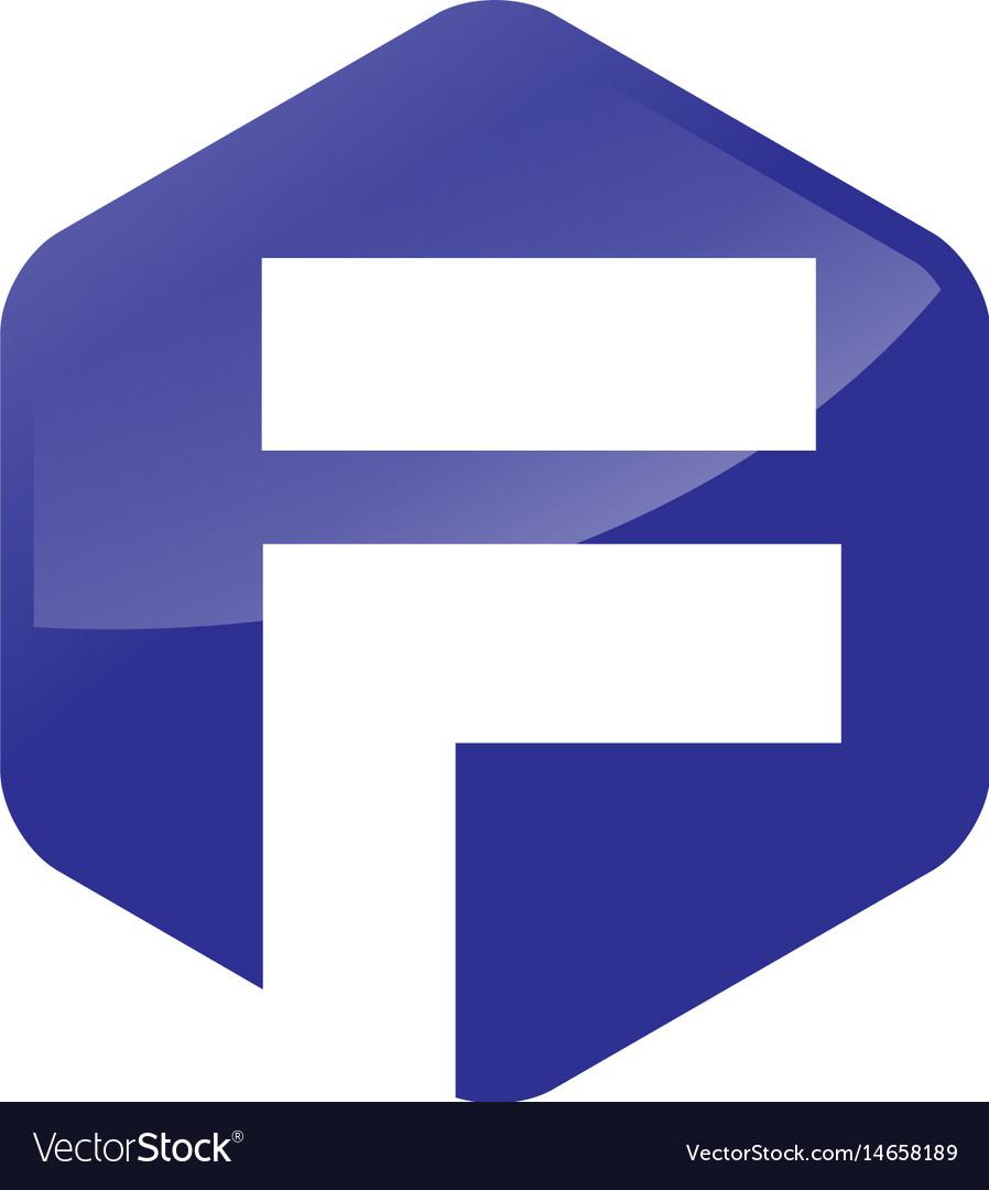 Letter f hexagon logo