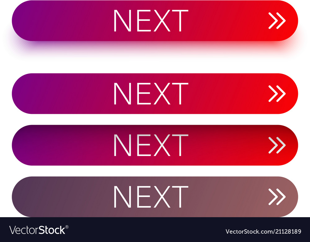 Red next web buttons with arrow isolated on white