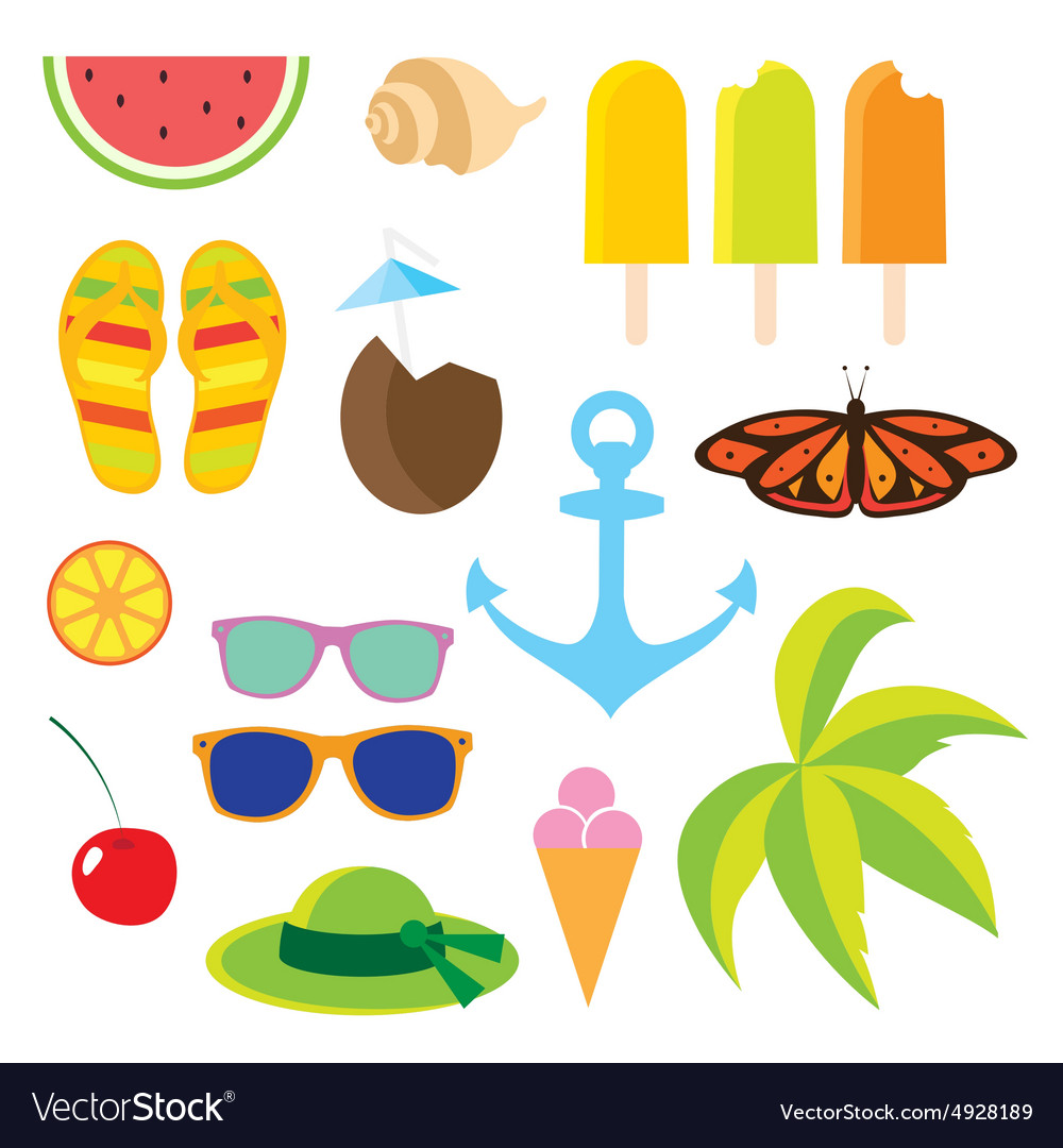 Set flat icons Travel and line length summer