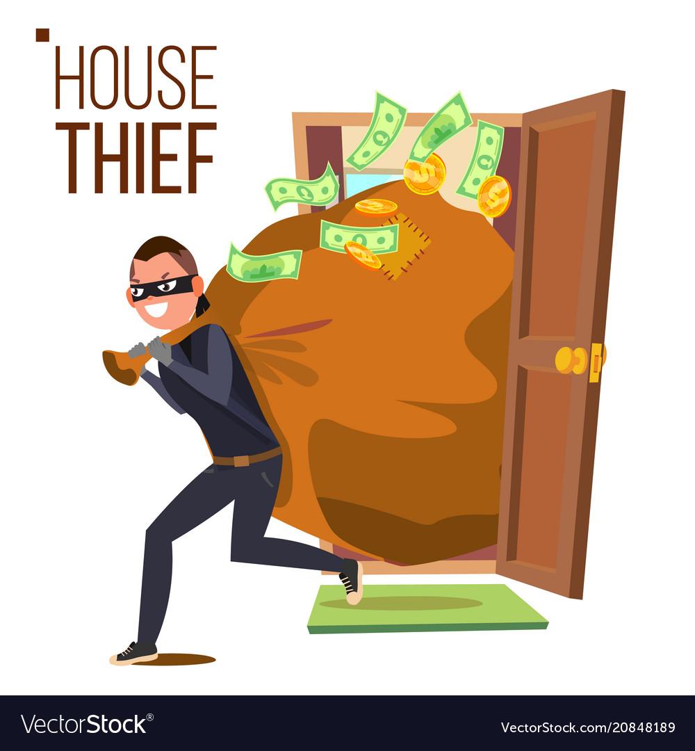 Thief and door bandit with bag breaking vector image