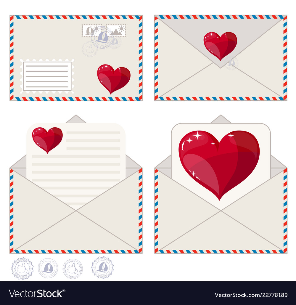 Valentine Letter In Envelope Flat Icon Royalty Free Vector
