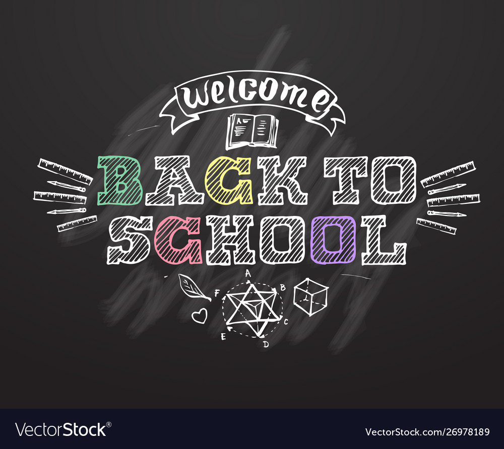 Welcome back to school background on black