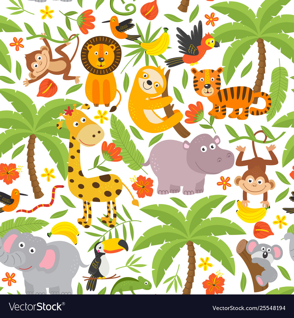 Basic rgbseamless pattern with jungle animals