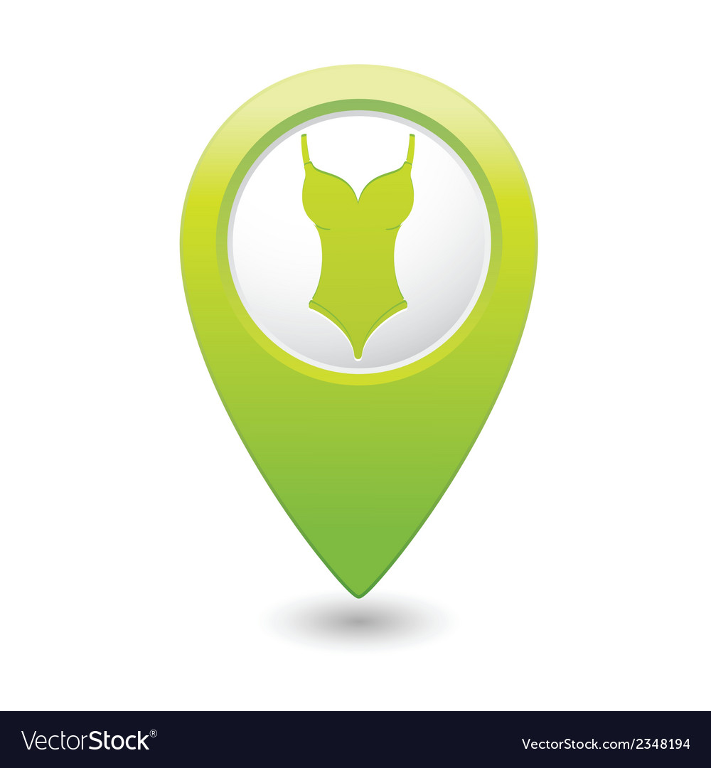 Bathing suit symbol green map pointer vector image