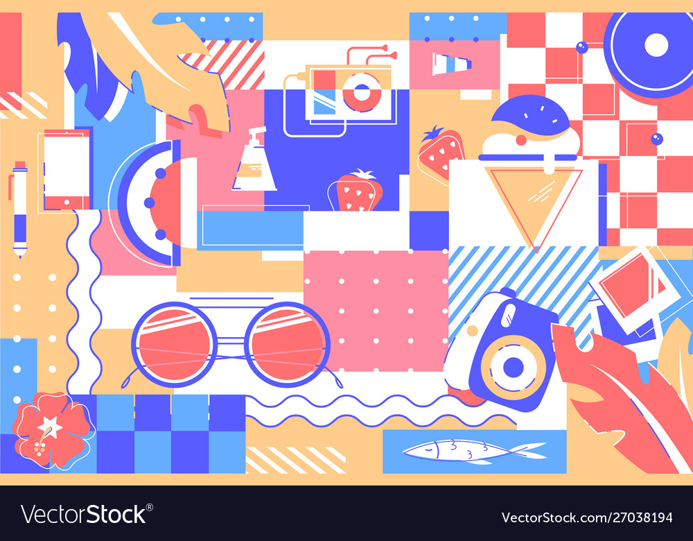 Beach items background glasses ice cream and