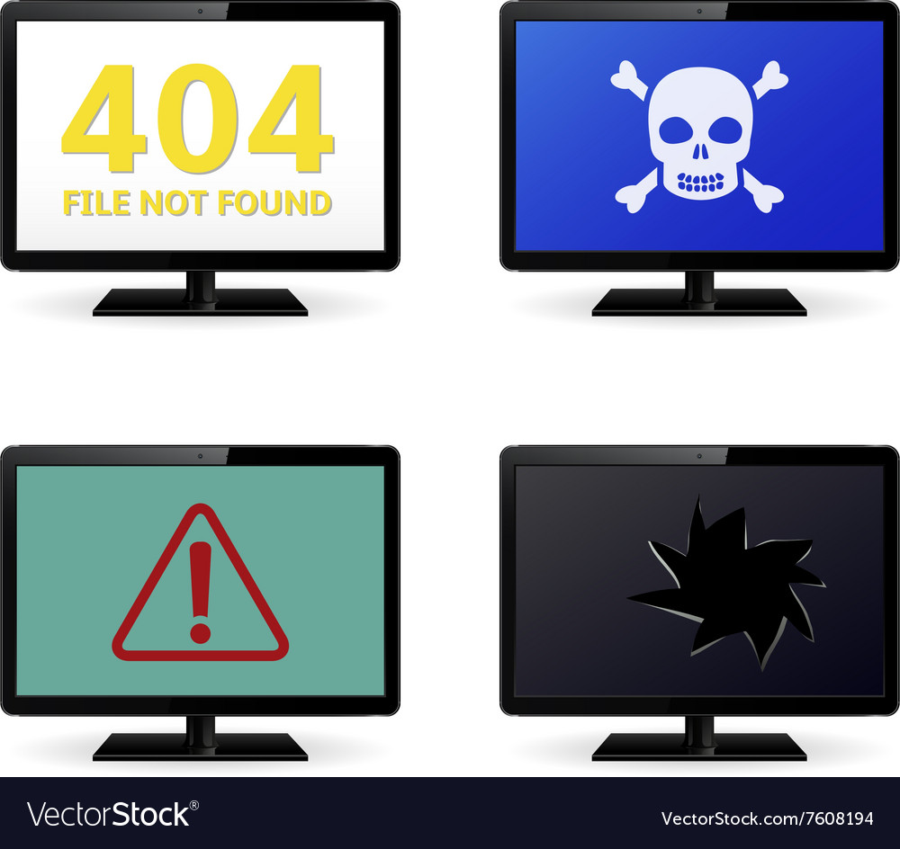 Error Sign on LCD Monitor Screens vector image