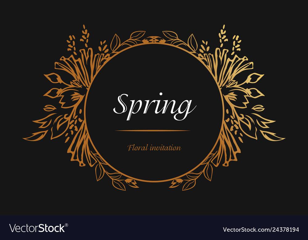 Floral spring invitation golden frame luxury