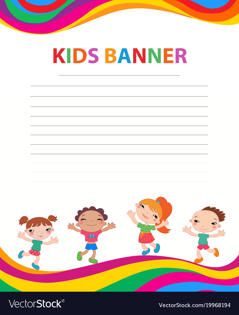 Happy children run on the banner template