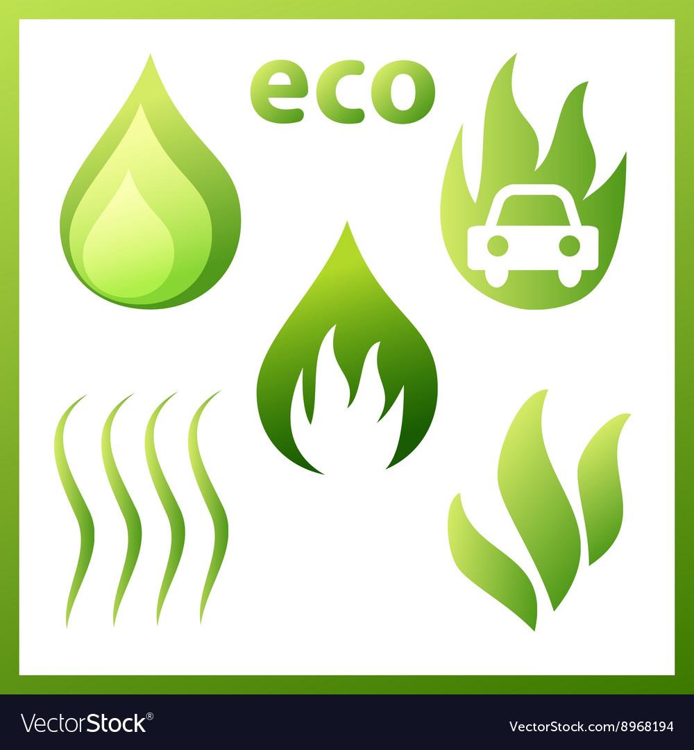Icons set drop gas sheets vector image