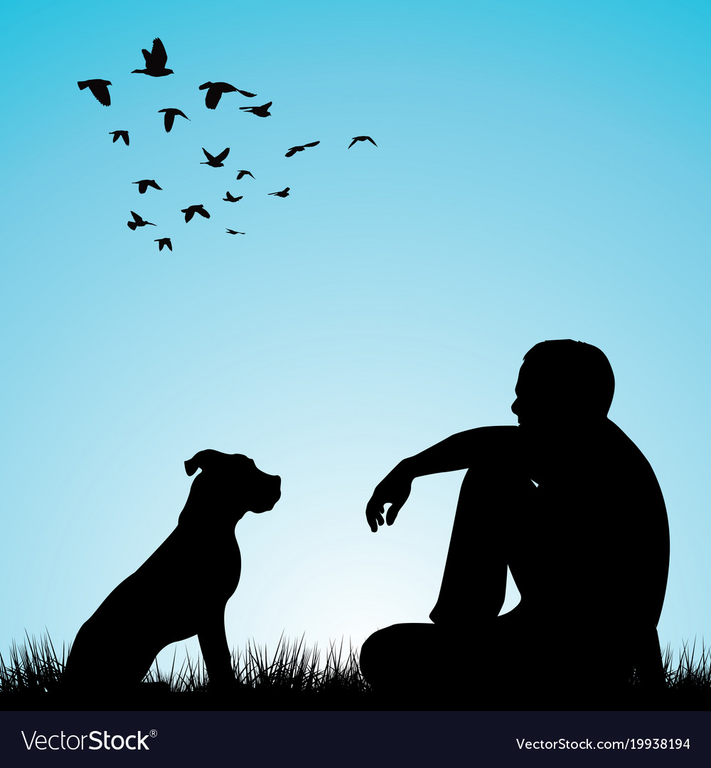 A Man And His Dog >> Man And His Dog Sitting On Grass Royalty Free Vector Image