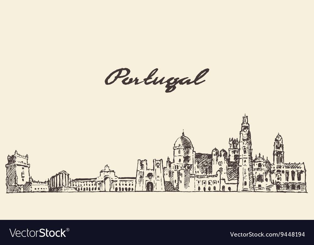 Portugal skyline drawn sketch