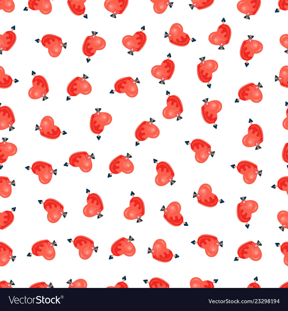 Seamless pattern of pink hearts valentines day