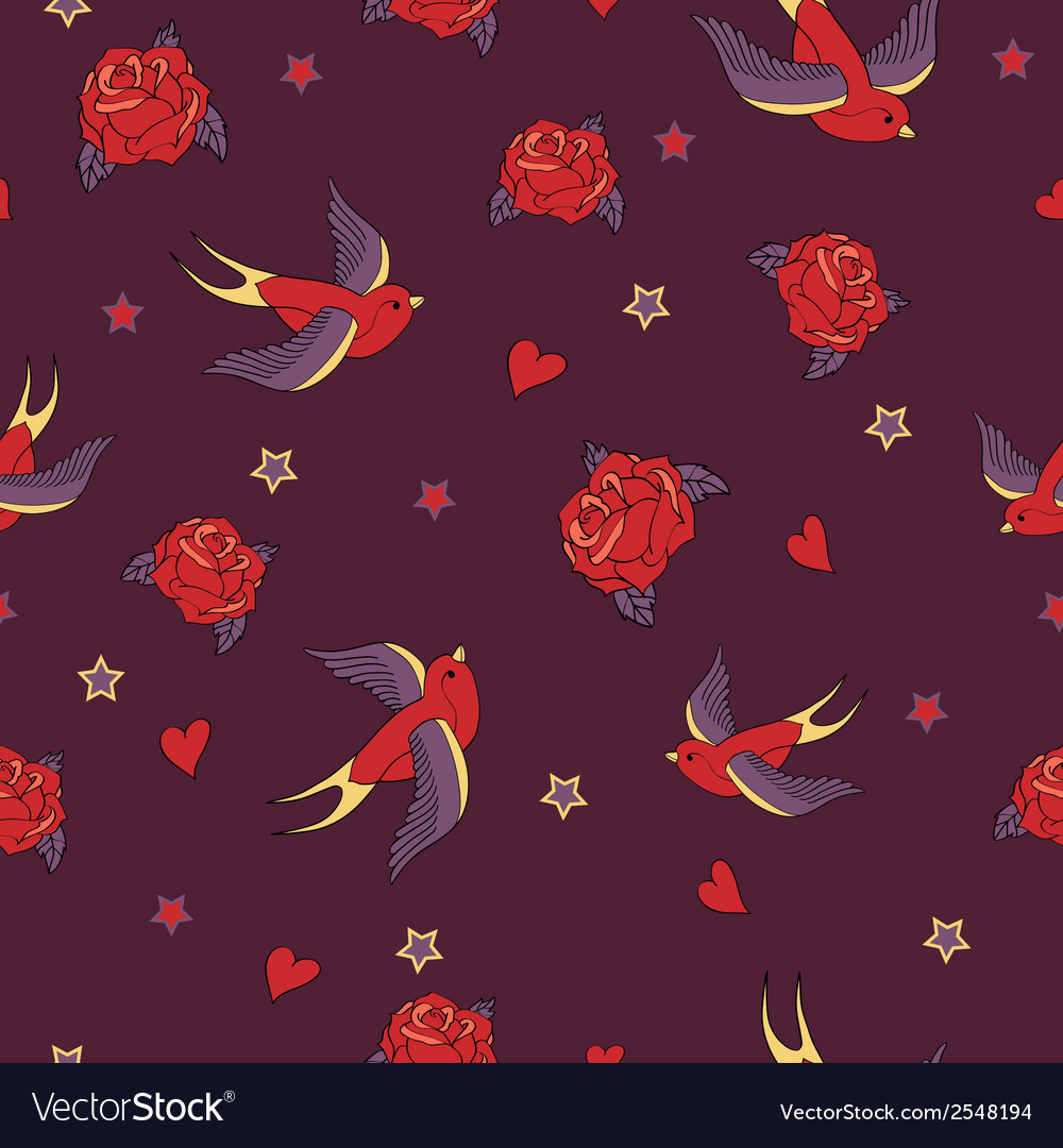 Seamless pattern with swallows roses hearts and