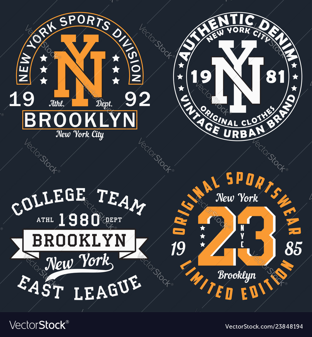 Set new york graphic for t-shirt