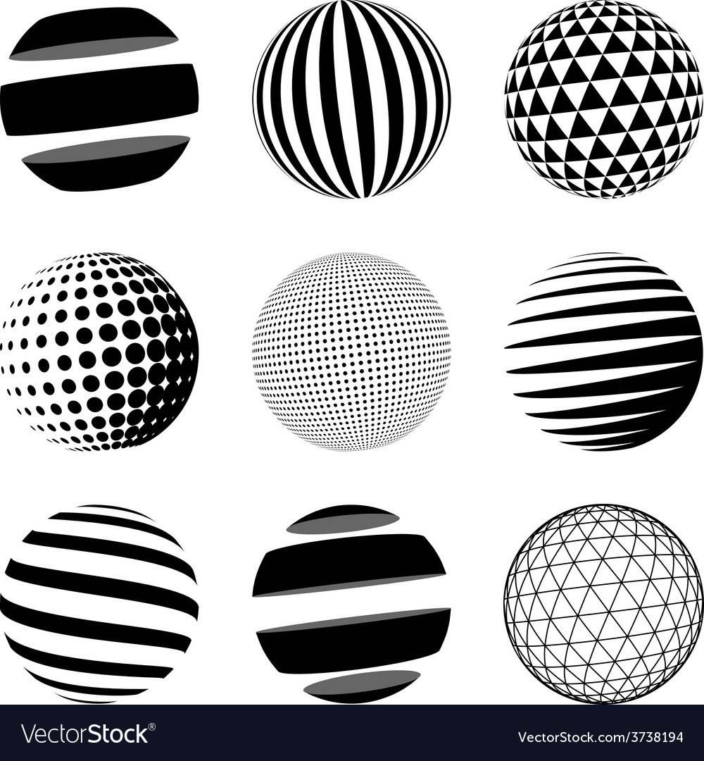 Set of black abstract sphere