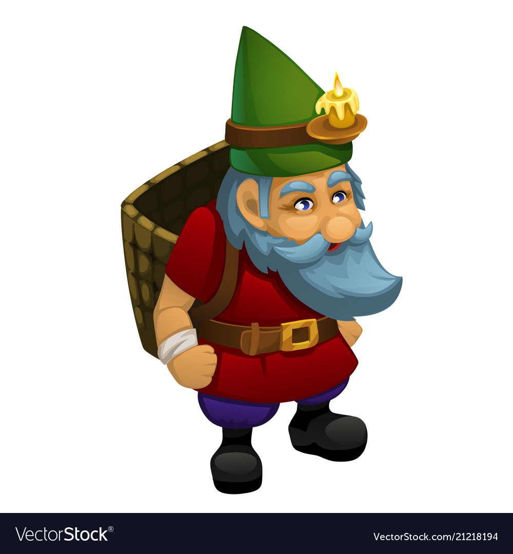 The old dwarf in a green cap with a burning candle